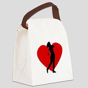 Golf Heart Canvas Lunch Bag