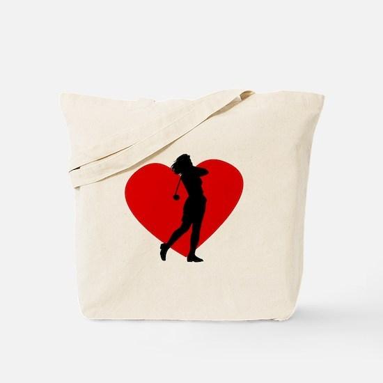 Golf Heart Tote Bag