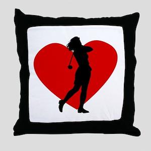 Golf Heart Throw Pillow