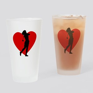 Golf Heart Drinking Glass