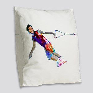 Super Crayon Colored Wakeboard Burlap Throw Pillow