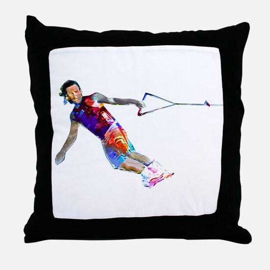 Super Crayon Colored Wakeboarding Throw Pillow