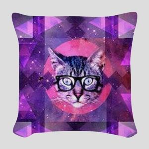 illuminati cat Woven Throw Pillow