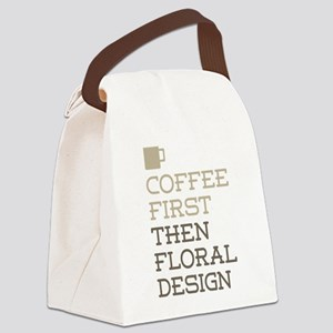 Coffee Then Floral Design Canvas Lunch Bag