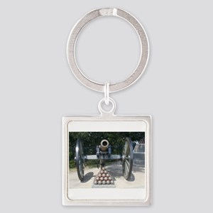 Civil War Cannon  Square Keychain