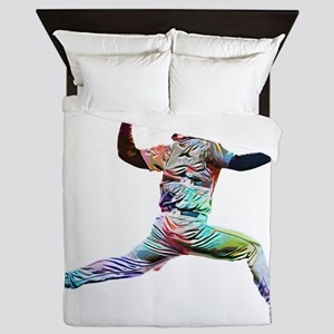 Super Crayon Colored Baseball Pitcher Queen Duvet