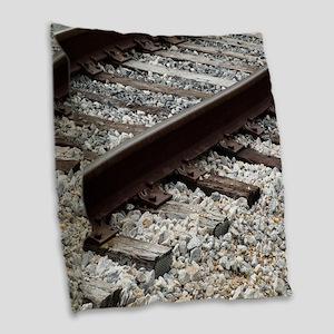 Railroad Track Burlap Throw Pillow