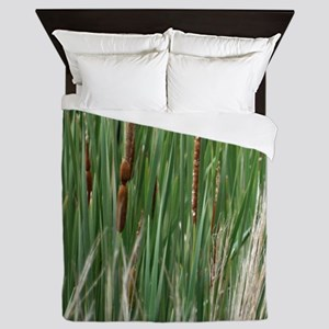 Ponds, cattails Queen Duvet
