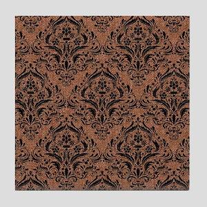 DAMASK1 BLACK MARBLE & BROWN DENIM Tile Coaster