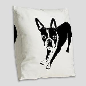 Boston Terrier Burlap Throw Pillow