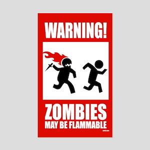 warning: zombies Rectangle Sticker