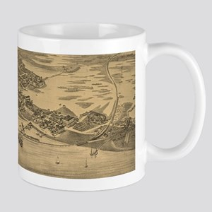Vintage Pictorial Map of Cedar Key FL (1884) Mugs