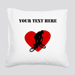 BMX Heart (Custom) Square Canvas Pillow