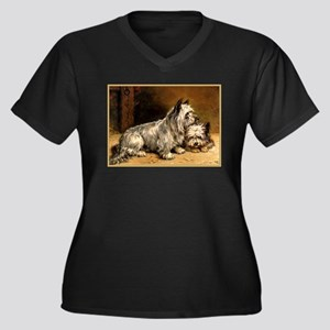 TWO TERRIERS Women's Plus Size V-Neck Dark T-Shirt