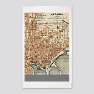 Vintage Map of Catania Italy (1905) Area Rug
