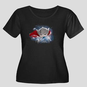 Chibi Mi Women's Plus Size Scoop Neck Dark T-Shirt