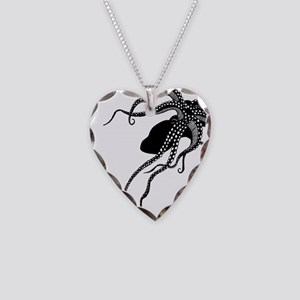Vintage Octopus in Black Necklace Heart Charm
