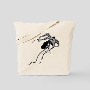 Vintage Octopus in Black Tote Bag