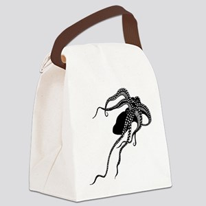 Vintage Octopus in Black Canvas Lunch Bag