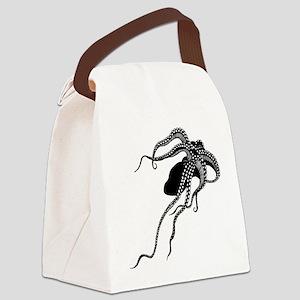 Vintage Octopus in Black Canvas Lunch Bag