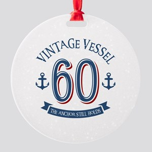 Nautical 60th Birthday Round Ornament
