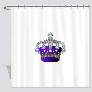 Silver & Purple Royal Crown Shower Curtain
