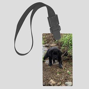 Black lab puppy Large Luggage Tag
