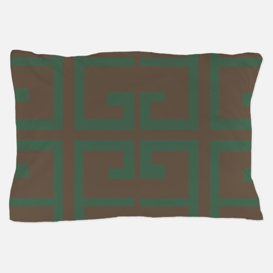 Green and Chestnut Brown Tile Pillow Case