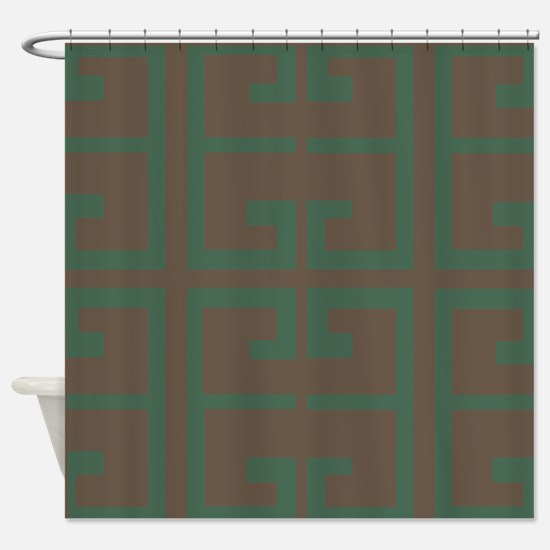 Green and Chestnut Brown Tile Shower Curtain
