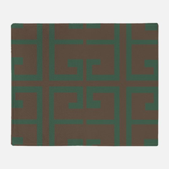 Green and Chestnut Brown Tile Throw Blanket