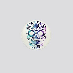 Blue & Purple Sugar Skull Mini Button