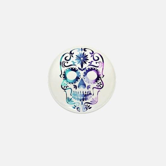 Blue & Purple Sugar Skull Mini Button