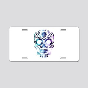 Blue & Purple Sugar Skull Aluminum License Plate