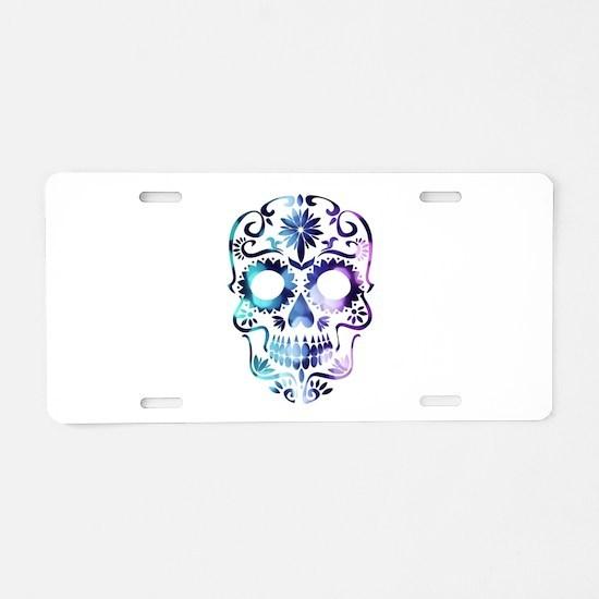 Blue & Purple Sugar Skull Aluminum License Plate