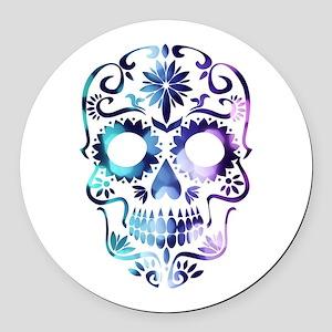 Blue & Purple Sugar Skull Round Car Magnet