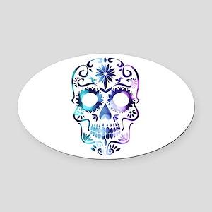 Blue & Purple Sugar Skull Oval Car Magnet