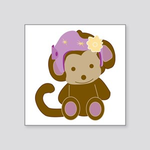 "Girl Monkey Helmet Square Sticker 3"" X 3&quot"