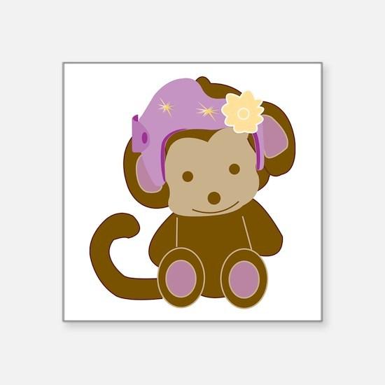 "Girl Monkey Helmet Square Sticker 3"" X 3&quot"