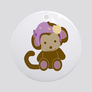 Girl Monkey Helmet Ornament (round)