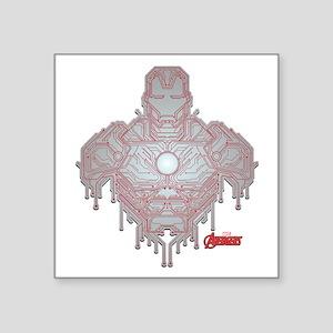 "Iron Man Circuit Square Sticker 3"" x 3"""