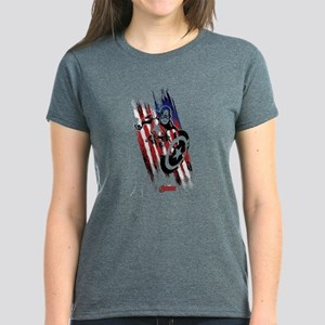 Captain America Flag Stripes Women's Dark T-Shirt