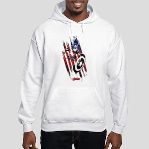 Captain America Flag Stripes Hooded Sweatshirt