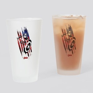 Captain America Flag Stripes Drinking Glass