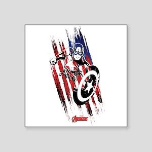 """Captain America Flag Stripe Square Sticker 3"""" x 3"""""""