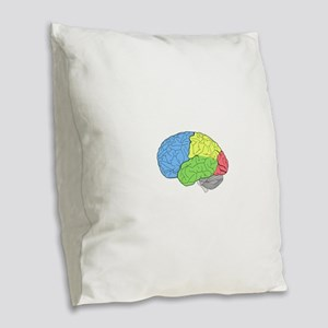 Primary Brain Burlap Throw Pillow