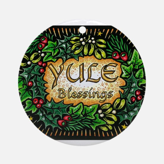 YuleBlessings Round Ornament