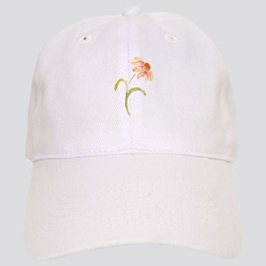 Watercolor Daisy Flower Peach and Orange Cap