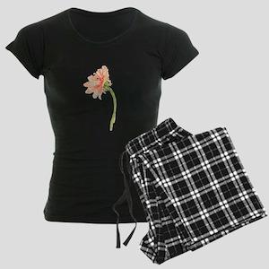 Watercolor Daisy Flower Peac Women's Dark Pajamas