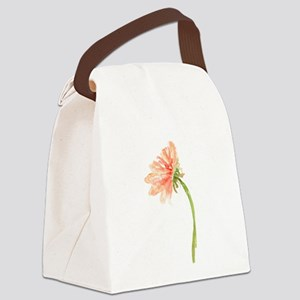Watercolor Daisy Flower Peach and Canvas Lunch Bag