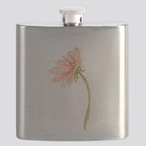 Watercolor Daisy Flower Peach and Orange Flask